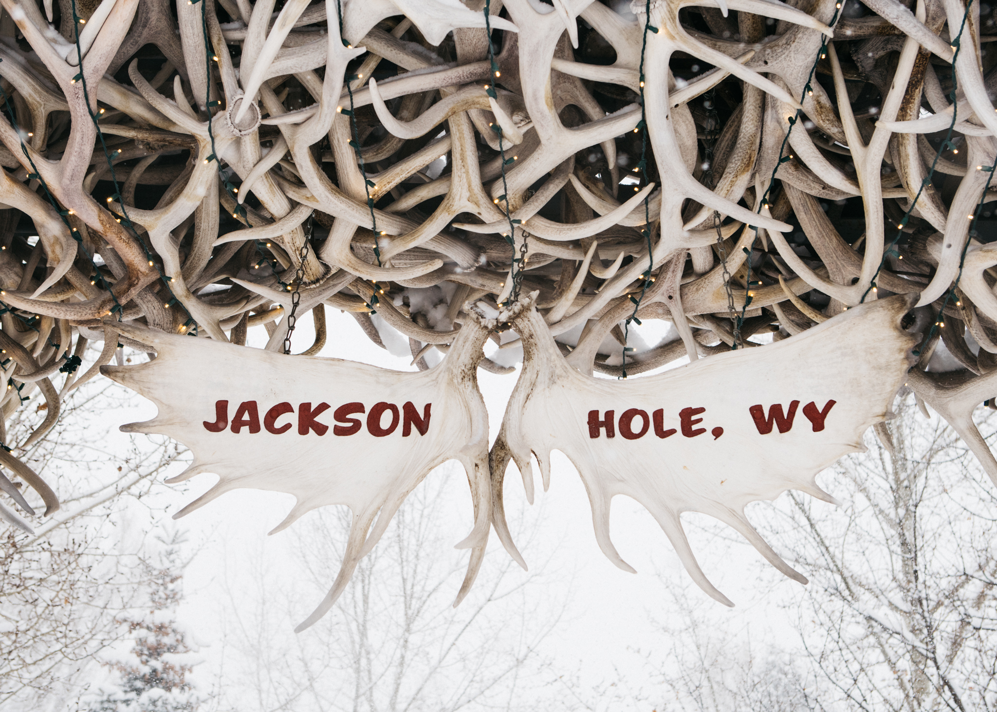 Jackson Hole Town Square famous antler arches