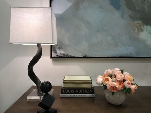Anne Buresh Interior Design Jackson Hole Wyoming Charlotte North Carolina Roses Flowers Lamp Horn Paining Art Entryway