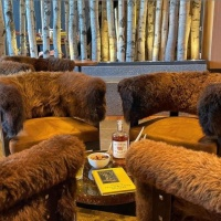 The Cloudveil Hotel in Jackson Wyoming Lobby Bison Pelts Wyoming Whiskey