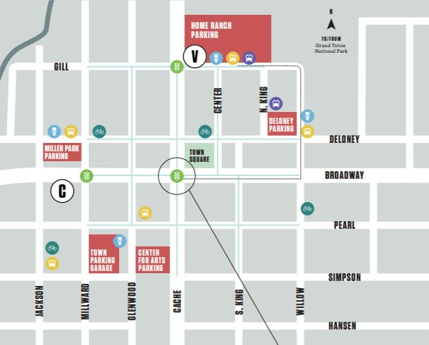 Visitor parking, public transportation and public restroom map for Jackson Hole, Wyoming Town Square