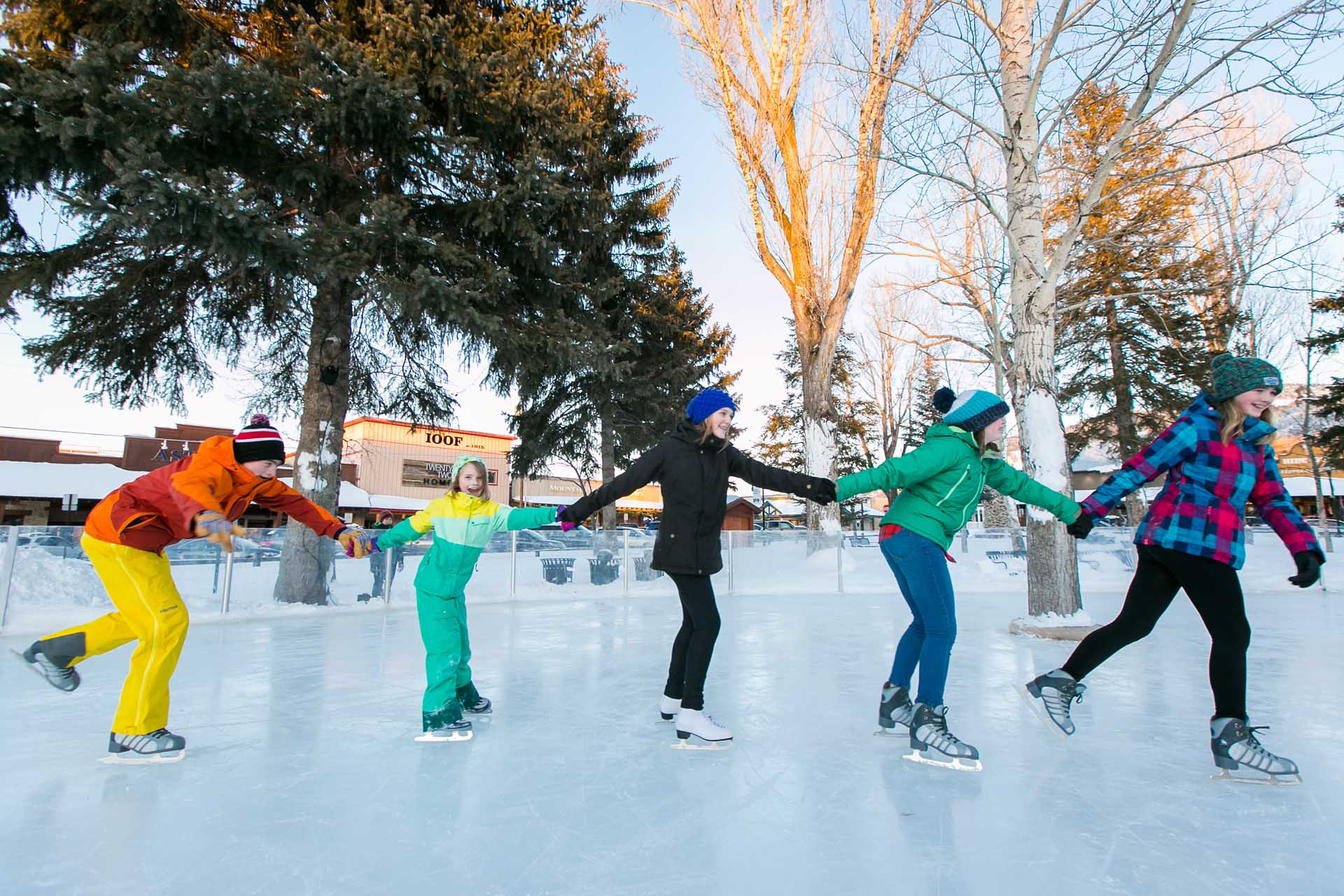 Ice Skating in Town Square in Jackson Hole Wyoming