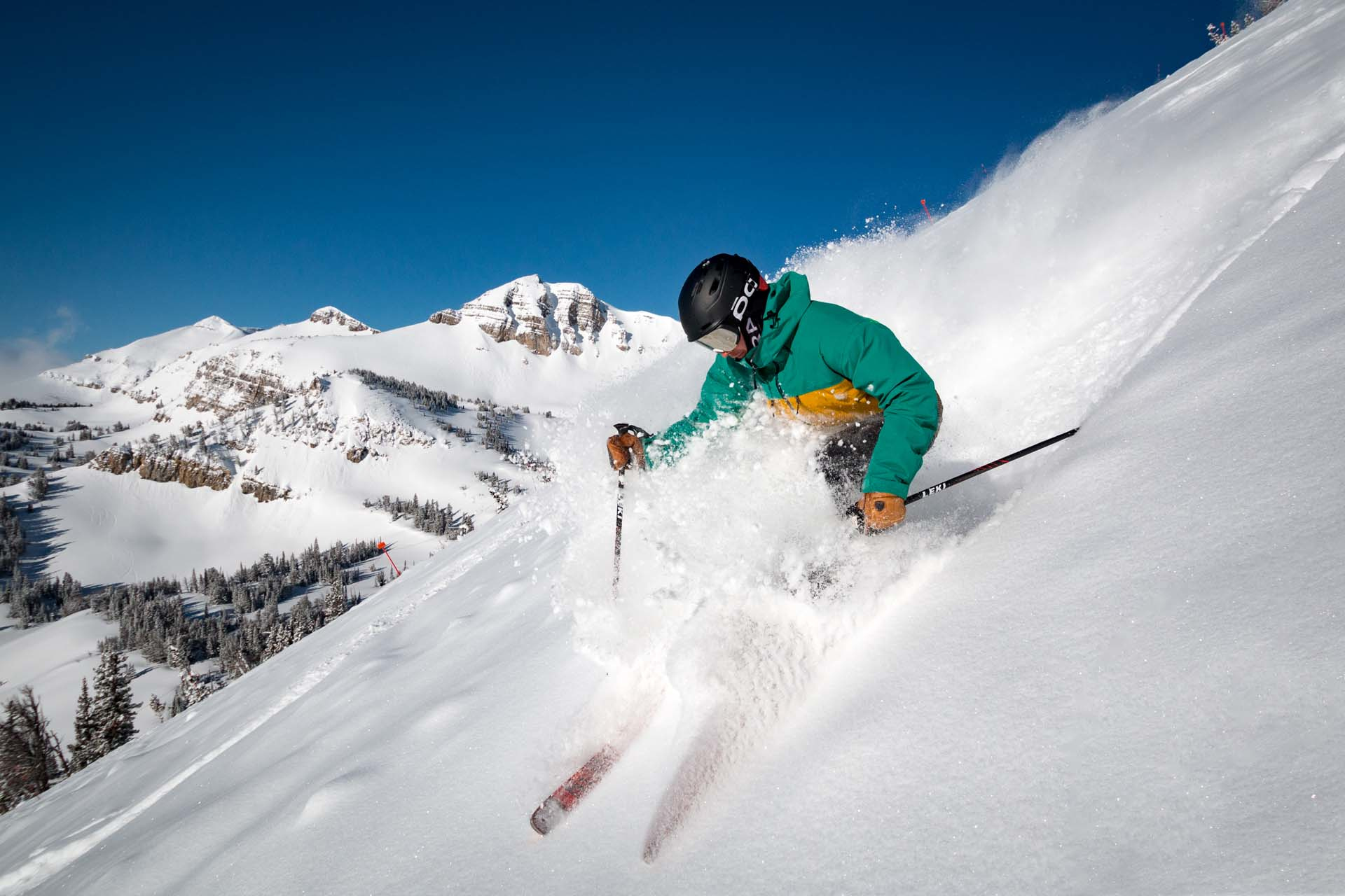 Ski powder snow at Jackson Hole Mountain Resort in Teton Village in Jackson Hole Wyoming
