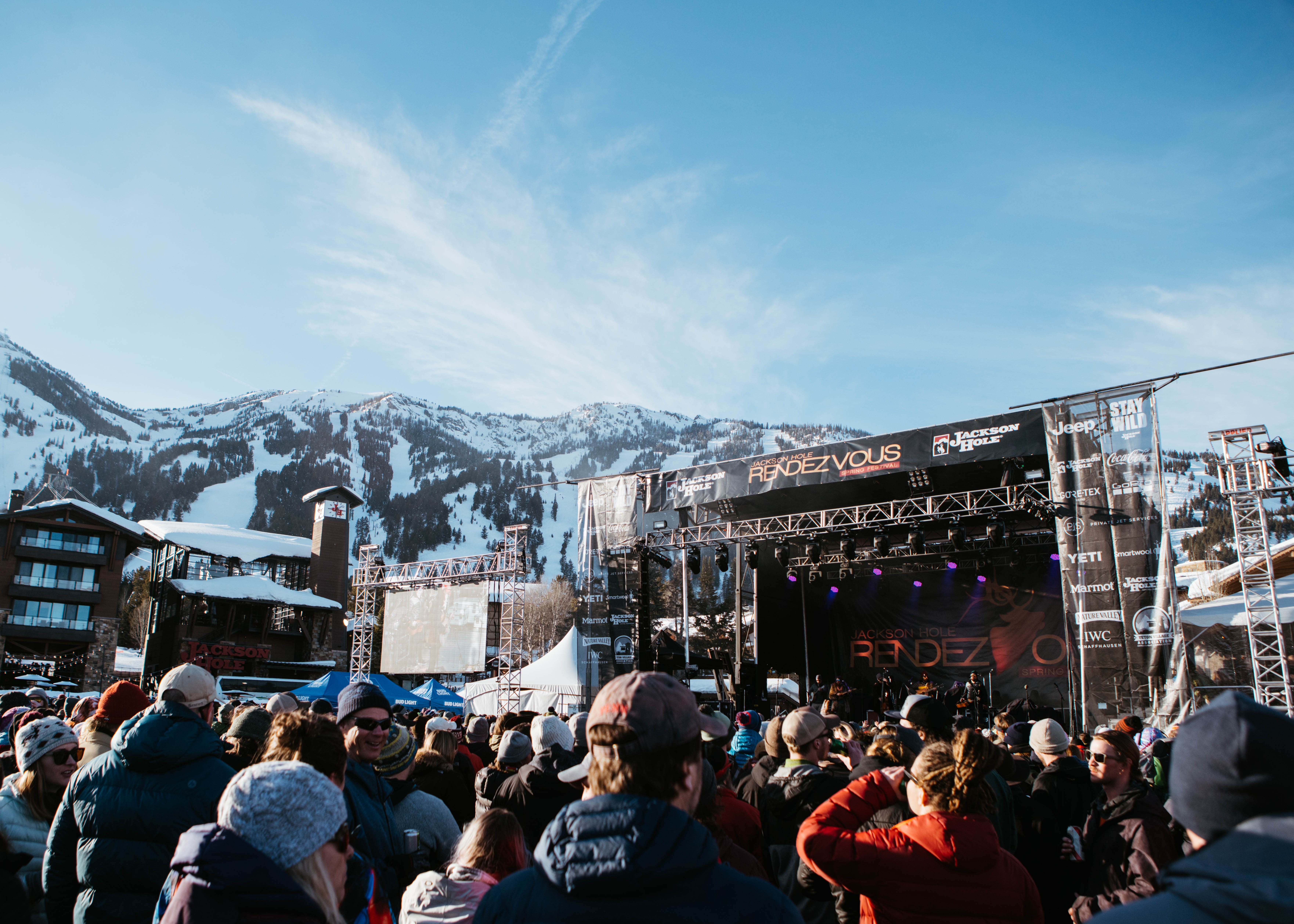 Festival stage set against the big and beautiful Rendezvous Mountain at the base of Teton Village, WY